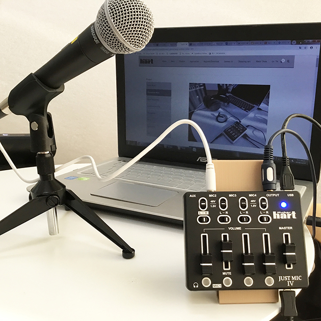 Just Mic IV - mini 4 channel microphone mixer with phantom power / USB audio IN 4