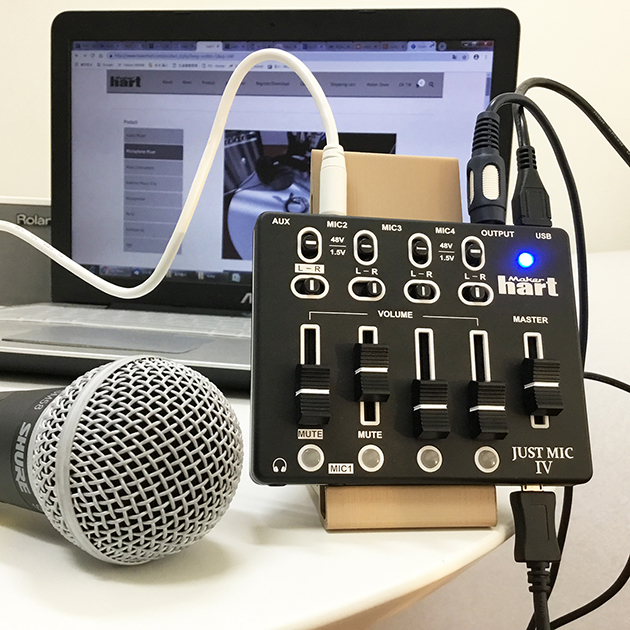 Just Mic IV - mini 4 channel microphone mixer with phantom power / USB audio IN 5