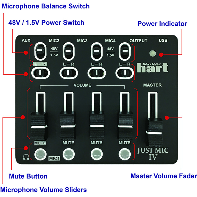 Just Mic IV - mini 4 channel microphone mixer with phantom power / USB audio IN 2